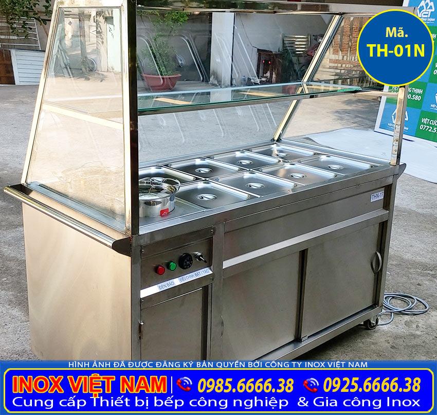 Quầy giữ nóng thức ăn 8 khay và 2 nồi, quầy hâm nóng thức ăn kích thước theo yêu cầu đây là sản phẩm do Cty Inox Việt Nam chúng tôi sản xuất. (Ảnh thực tế)
