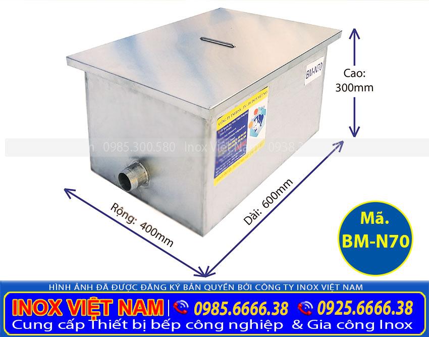 Báo giá bể tách mỡ công nghiệp 70L BM-N70. Địa chỉ mua bẫy mỡ inox giá rẻ tại TPHCM.