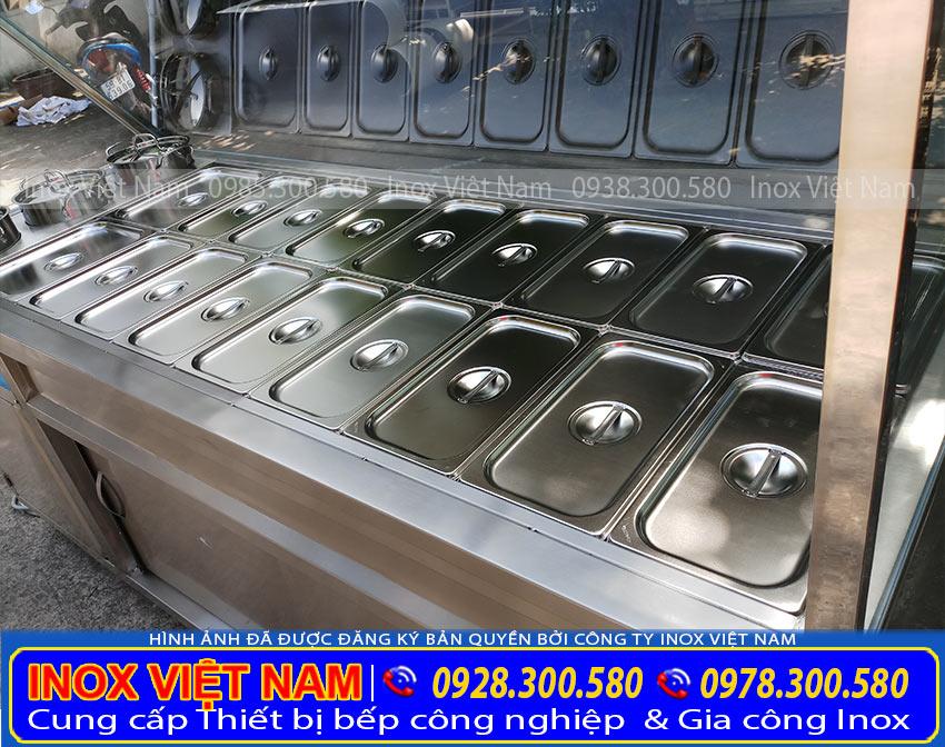 Nhận gia công tủ hâm nóng thức ăn, quầy hâm nóng thức ăn. Với số khay và kích thước theo yêu cầu.