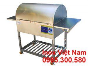 Lò Nướng Than Inox 304 Có Nắp Đậy và Kệ Bên LN-08