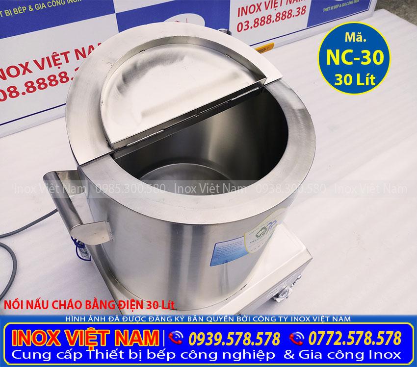 Nồi nấu cháo bằng điện 30L hay nồi nấu cháo công nghiệp 30 Lít được sản xuất tại Inox Việt Nam với công nghệ mới, Thân nồi 3 lớp inox 304 + 1 lớp Foam cách nhiệt dày 3-5 cm.