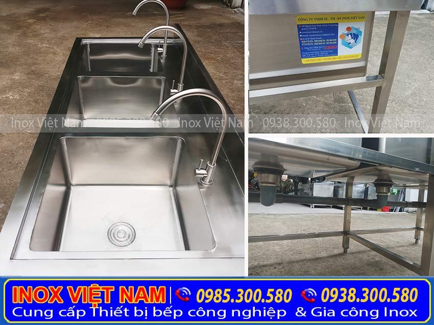 Báo giá bồn rửa chén inox 1 ngăn lớn | Chậu rửa inox đơn có kệ dưới. Bồn rửa chén inox công nghiệp của công ty Inox Việt Nam.