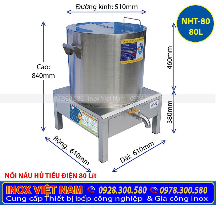 Thông số kỹ thuật nồi phở điện, nồi nấu hủ tiếu bằng điện 80 lít (Ảnh thật tế).