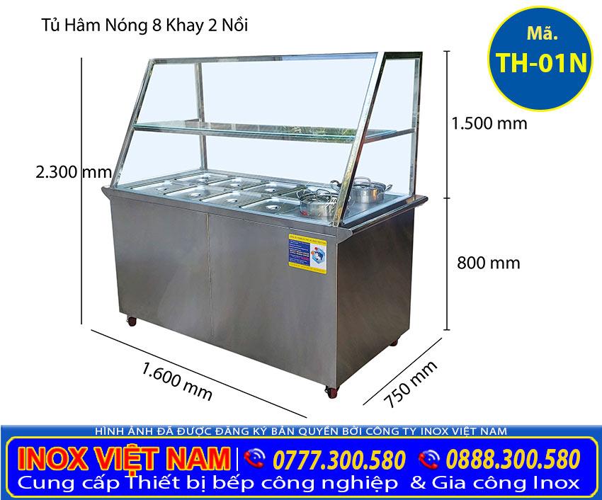 Kích thước tủ hâm nóng thức ăn 8 khay 2 nồi TH-01N (Ảnh thật tế).