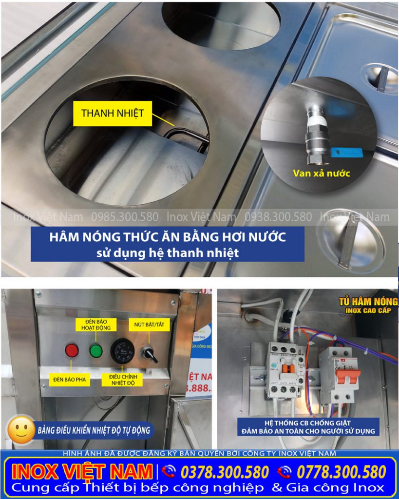 Tủ hâm nóng thức ăn, tủ giữ nóng thức ăn có cấu tạo như thế nào. Hình ảnh thực tế cấu tạo tủ hâm nóng thức ăn của Inox Việt Nam.