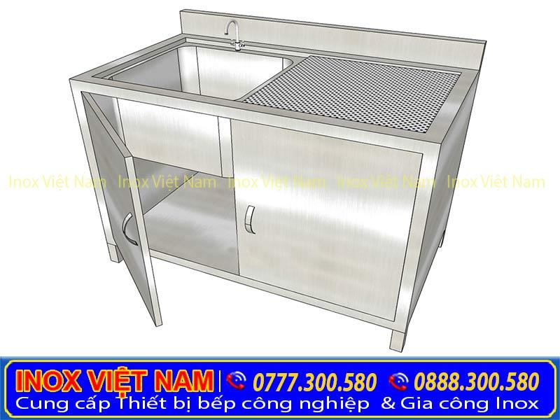 Sản phẩm tủ inox có 1 bồn rửa chén bát của Inox Việt Nam