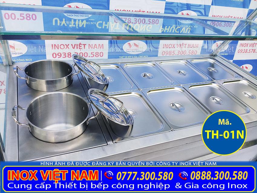 Tủ tủ trưng bày giữ nóng thức ăn, tủ trưng bày cơm hâm nóng thức ăn. Được gia công từ chất liệu inox 304 cao cấp bền đẹp. An toàn vệ sinh thực phẩm.
