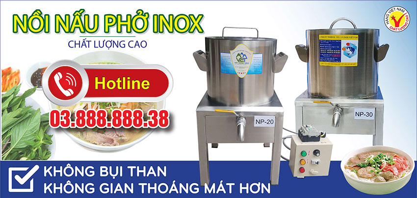Thiết bị bếp inox công nghiệp - Địa chỉ mua nồi nấu phở bằng điện, nồi nấu hủ tiếu điện, nồi điện hầm xương nấu nước lèo giá tốt tại TPHCM.