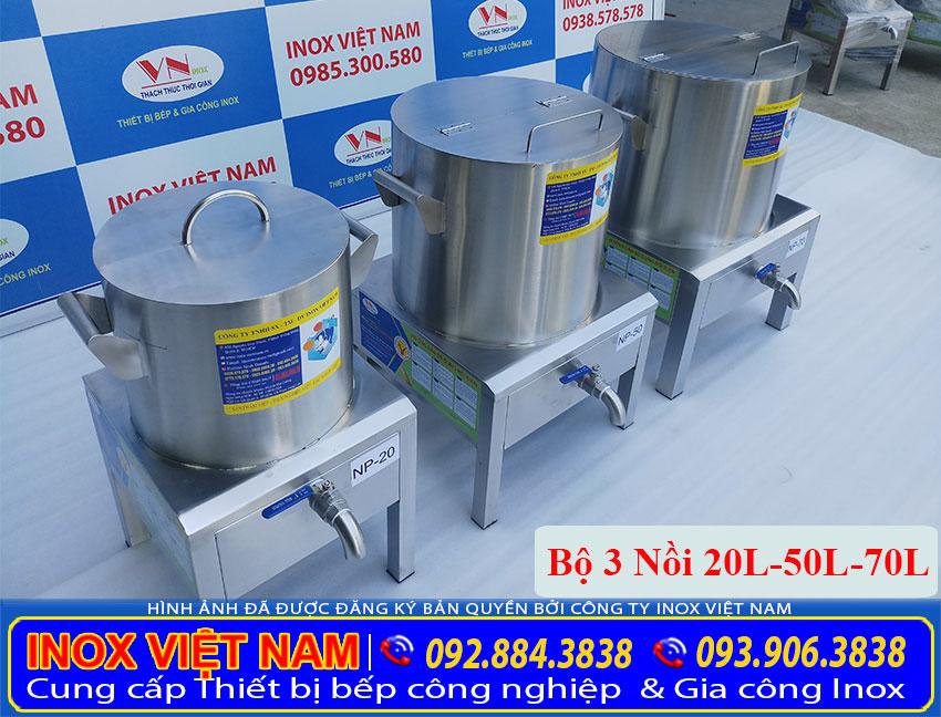 Hình ảnh bộ nồi inox nấu phở bằng điện, bộ 3 nồi nấu phở bằng điện 20L-50L-70L (ảnh thật tế).