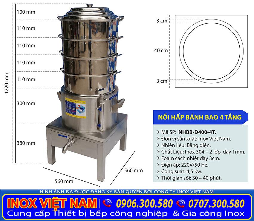 Kích thước nồi hấp bánh bao công nghiệp 4 tầng, nồi điện hấp bánh bao 4 tầng NHBB-D440-4T.