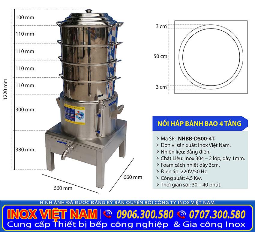 Kích thước nồi hấp bánh bằng điện, nồi hấp bánh bao công nghiệp 4 tầng NHBB-D500-4T.