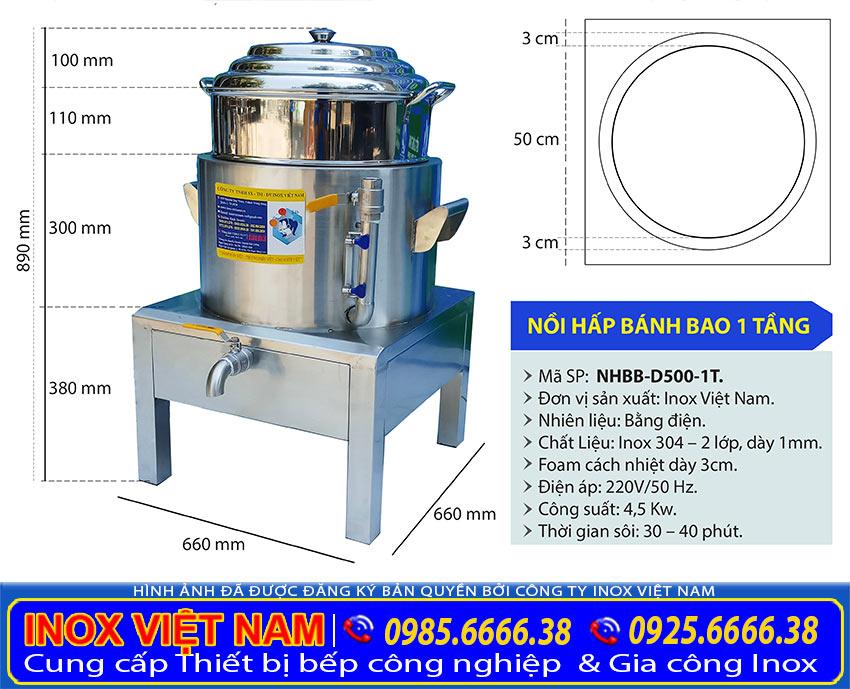 Kích thước nồi hấp bánh bao bằng điện, nồi hấp bánh bao công nghiệp 1 tầng NHBB-D500-1T.