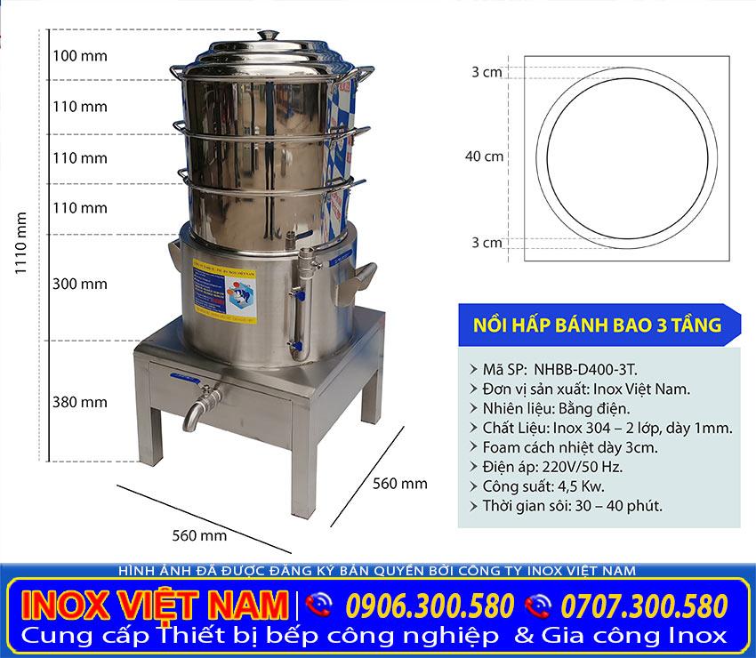 Kích thước nồi hấp bánh bao bằng điện, nồi hấp bánh bao inox, nồi hấp bánh bao công nghiệp, nồi hấp bánh bao 3 tầng NHBB-D400-3T.