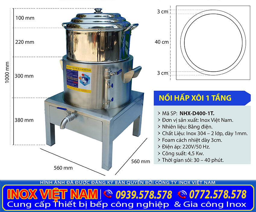 Kích thước bộ nồi xửng hấp inox, nồi hấp xôi inox công nghiệp 1 tầng NHX-D440-1T
