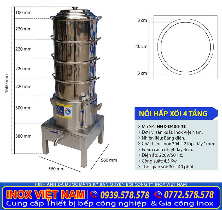 Kích thước nồi hấp xôi điện công nghiệp 4 tầng, bộ nồi xửng hấp xôi inox bằng điện 4 tầng NHX-D400-4T