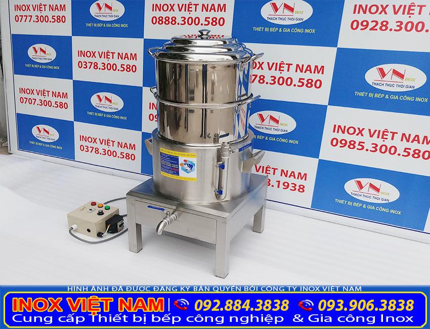 Sản phẩm nồi hấp bánh bao inox, nồi hấp bánh bao bằng điện 2 tầng NHBB-D500-2T (Ảnh thật tế).
