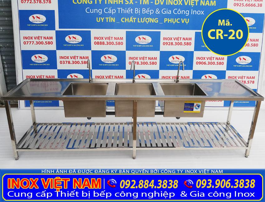 Chậu rửa bát nhà hàng 3 ngăn lớn có bàn rửa 2 bên cánh CR-20 ( Ảnh thật tế).
