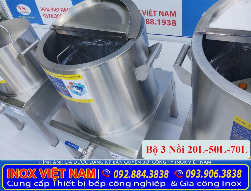 Bộ nồi điện nấu phở 20L-50L-70L được gia công từ chất liệu inox 04 cao cấp bền đẹp ( Ảnh thật tế).