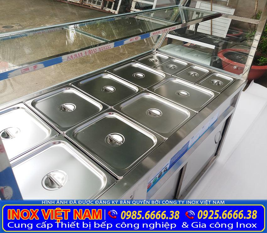Tủ bán cơm hâm nóng, quầy hâm nóng thức ăn, tủ hâm nóng thức ăn công nghiệp cao cấp của Thiết bị bếp inox công nghiệp (Ảnh thật tế).
