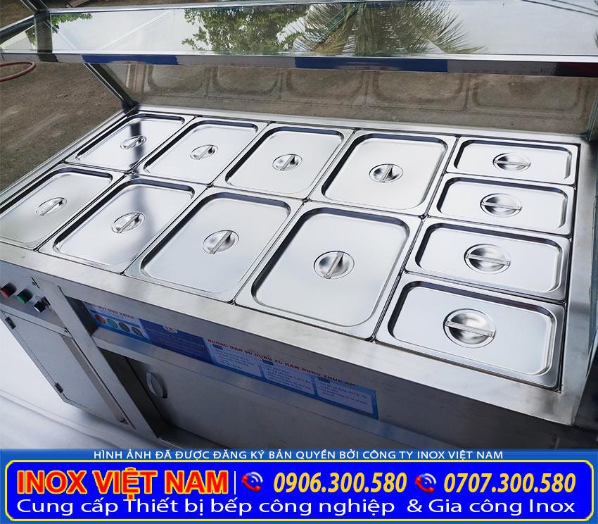 Tủ giữ nóng thức ăn, tủ hâm nóng thức ăn công nghiệp giá tốt tại TPHCM (ảnh thật tế).