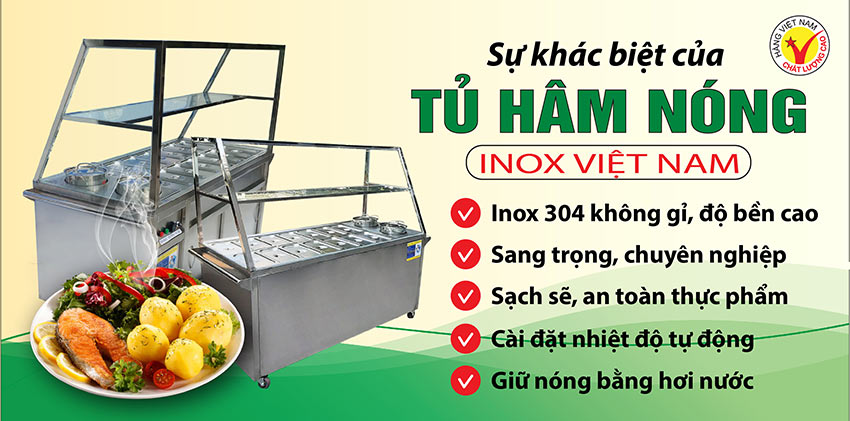 Inox Việt Nam - Địa chỉ mua tủ hâm nóng thức ăn, tủ giữ nóng thức ăn tphcm, tủ inox bán cháo dinh dưỡng chất lượng giá tốt.