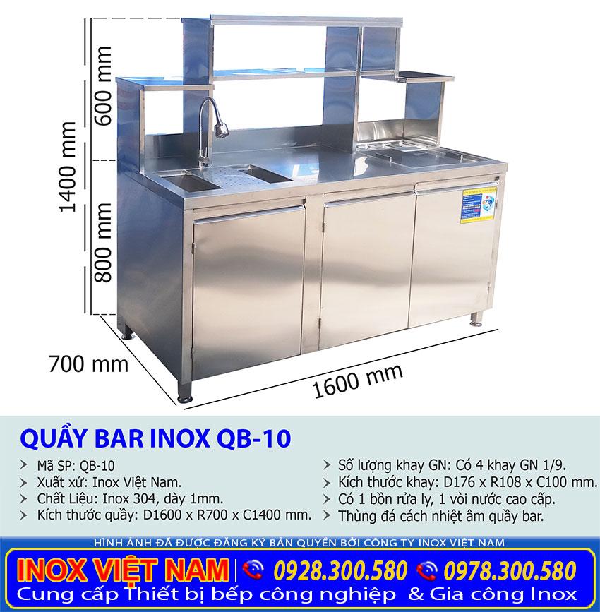 Thông số kỹ thuật kích thước quầy pha chế cafe inox, quầy pha chế trà sữa inox QB-10.