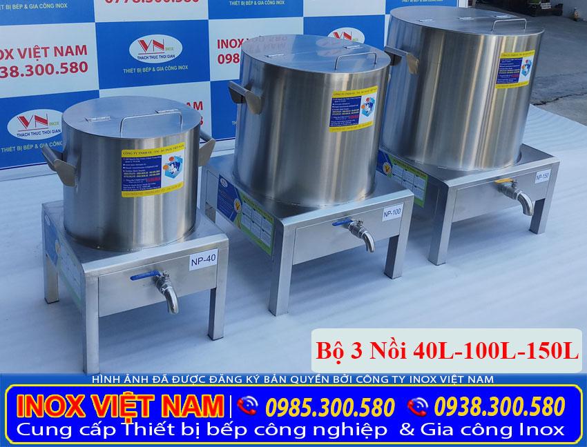 Báo giá bộ 3 nồi nấu phở bằng điện 40L – 100L – 150L (ảnh thật tế).