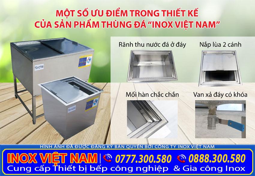 Cấu tạo của thùng đá inox âm bàn, thùng đá inoxquầy bar của Inox Việt Nam tạo nên sự khác biệt.