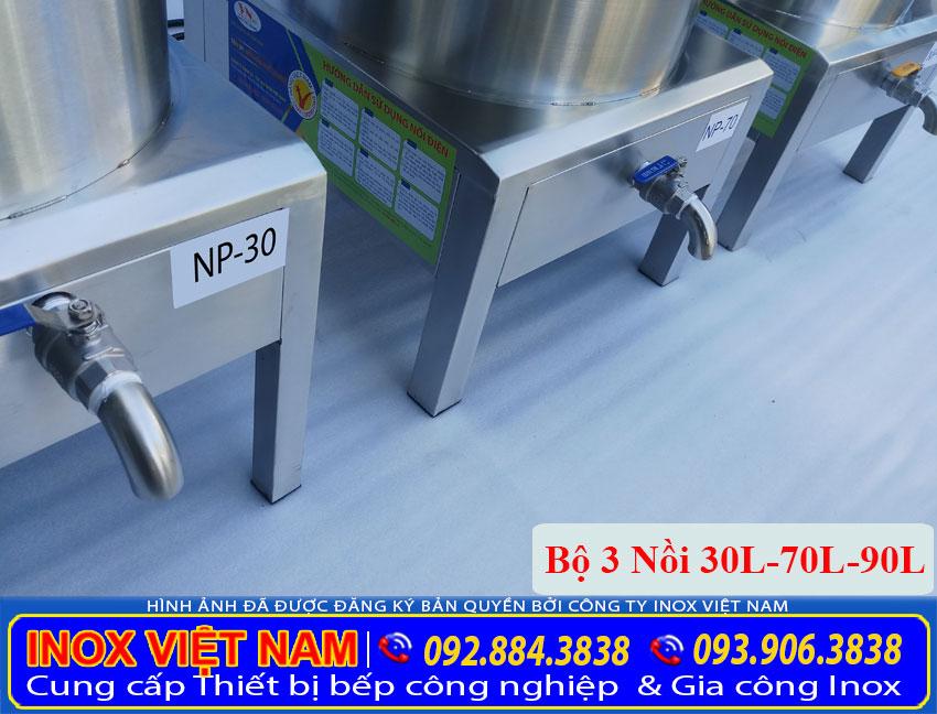 Chi tiết phần chân đế bộ 3 nồi nấu phở bằng điện tiêu chuẩn 30L – 70L – 90L (Ảnh thật tế).