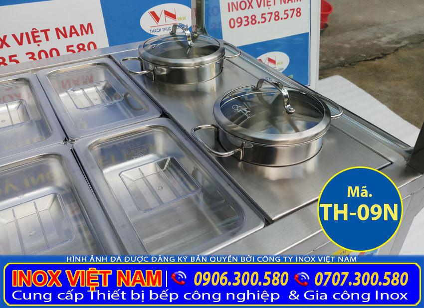 Chi tiết phần nồi inox của quầy hâm nóng thức ăn, tủ giữ nóng thức ăn công nghiệp 20 khay 2 nồi (Ảnh thật tế).