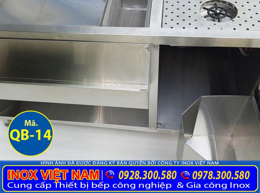 Chi tiết tủ đá inox quầy bar QB-14 của thương hiệu Inox Việt Nam (Ảnh thật tế).