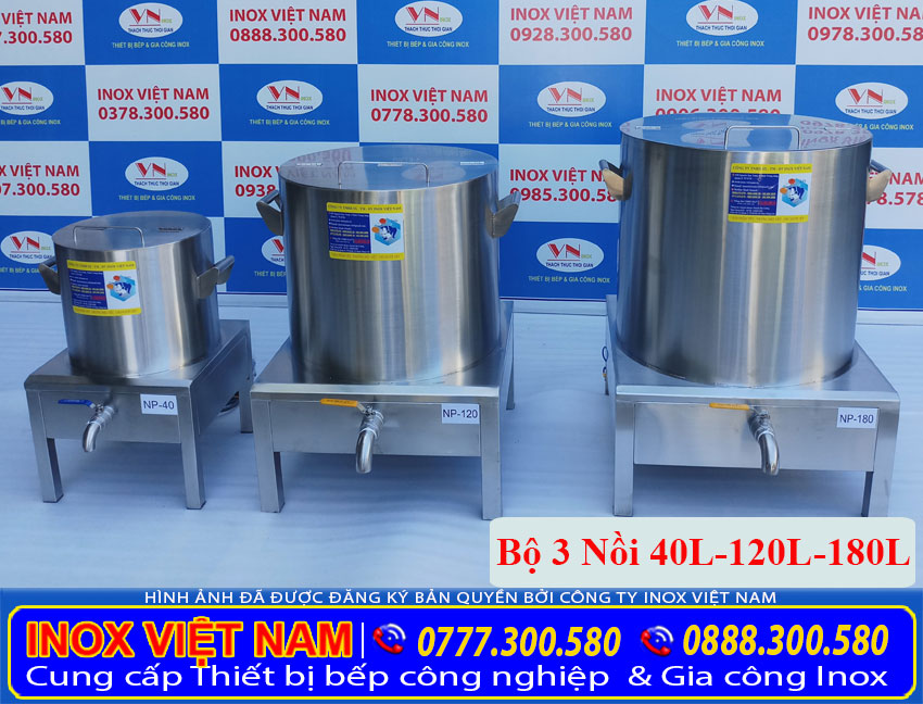 Báo giá bộ 3 nồi điện nấu phở tiêu chuẩn 40L – 120L – 180L (Ảnh thật tế).