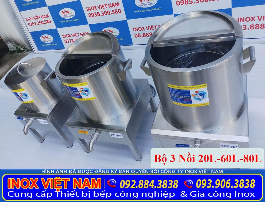 Bộ 3 nồi nấu phở bằng điện 20L - 60L - 80L, nồi nấu phở bằng điện được sản xuất từ chất liệu inox 304 cao cấp bền đẹp giá tốt tại TPHCM (Ảnh thật tế).