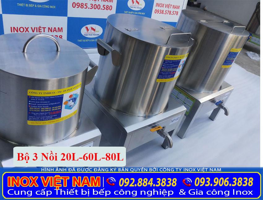 Bộ nồi nấu phở bằng điện 20L - 60L - 80L, nồi nấu phở bằng điện được sản xuất từ chất liệu inox 304 cao cấp bền đẹp (Ảnh thật tế).