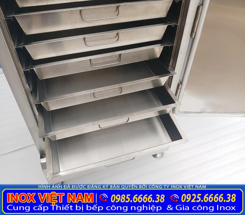 Khay nấu cơm công nghiệp, khay inox đựng gạo tủ hấp cơm công nghiệp (Ảnh thật tế).