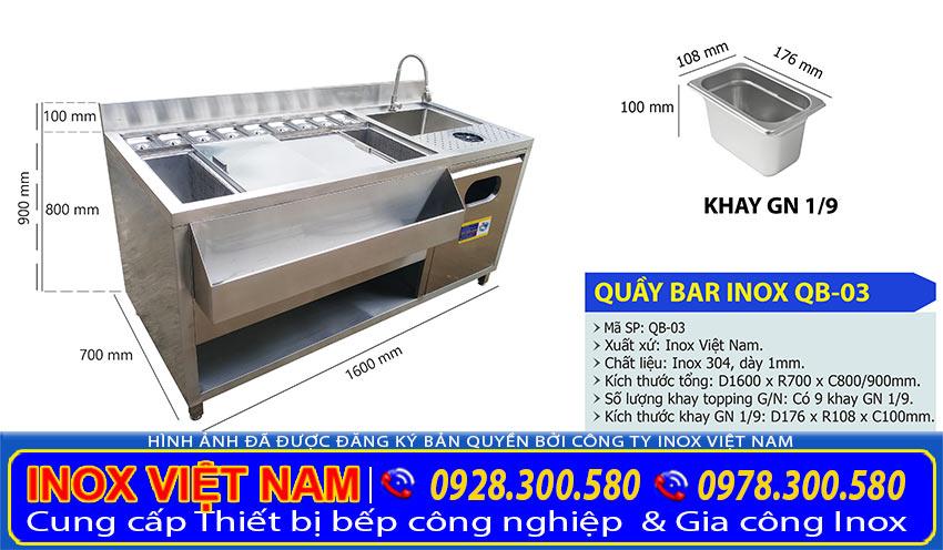 Kích thước quầy bar pha chế inox, quầy pha chế inox 1m6 QB-03 (Ảnh thật tế).