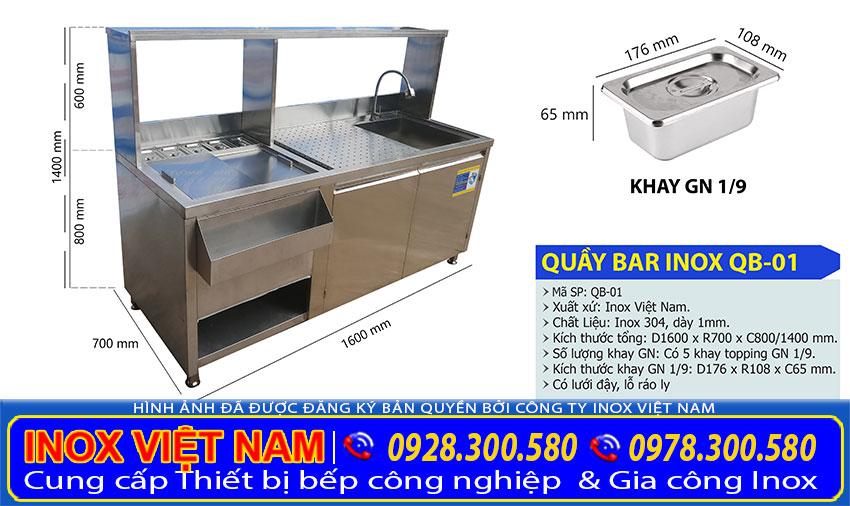 Kích thước quầy pha chế cafe inox, quầy pha chế trà sữa QB-01.