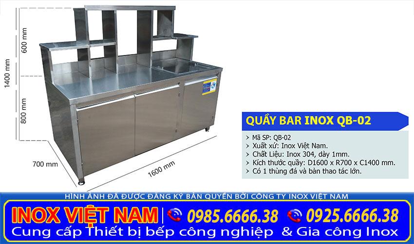 Thông số kỹ thuật, kích thước quầy pha chế inox, quầy bar pha chế trà sữa inox QB-02 (ảnh thật tế).