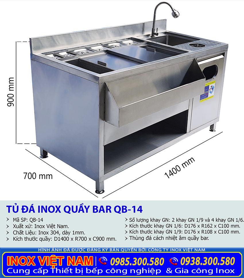 Kích thước thông số kỹ thuật quầy bar cafe inox, tủ đá inox inox quầy bar QB-14 (ảnh thật tế).