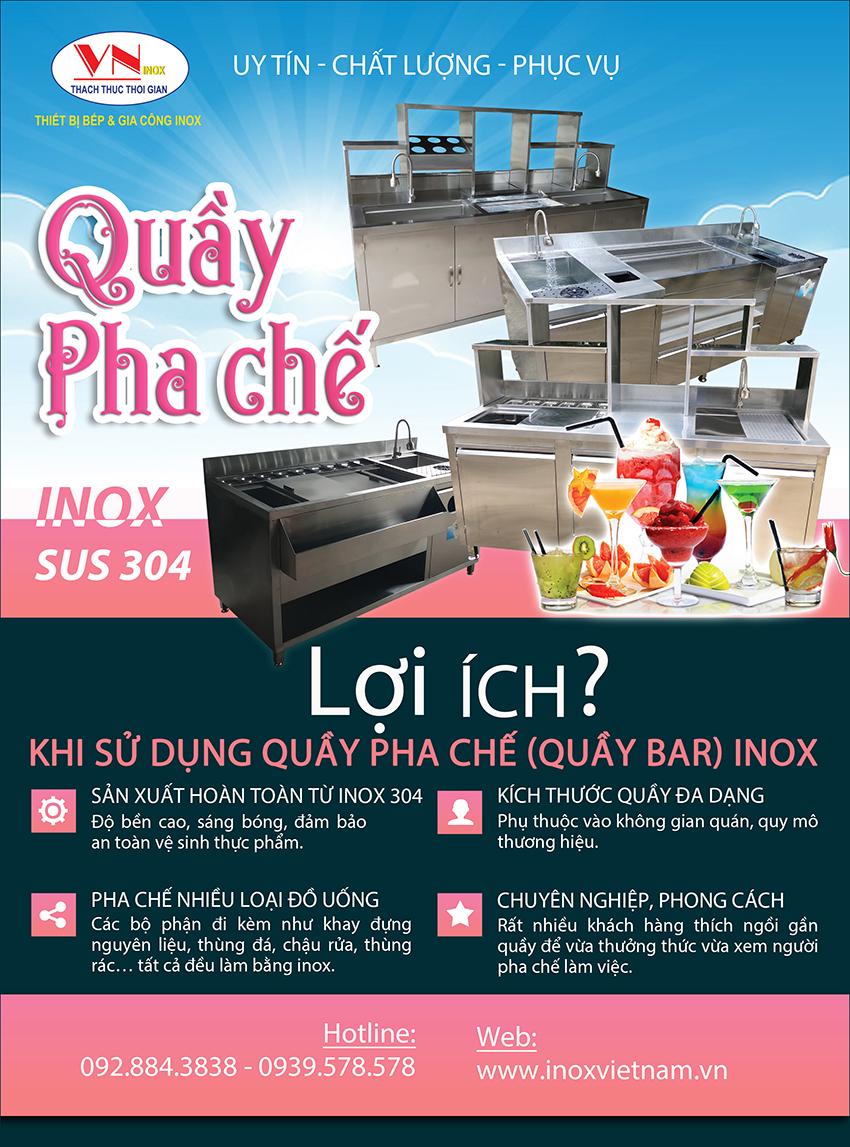 Mua quầy bar inox, quầy pha chế inox, quầy pha chế trà sữa, quầy bar cafe inox chất lượng giá tốt tại TPHCM.