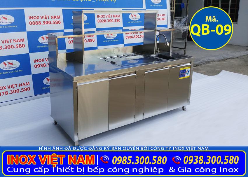 Hình ảnh thật tế Quầy pha chế trà sữa, quầy pha chế inox, quầy bar inox được sản xuất bởi Inox Việt Nam.