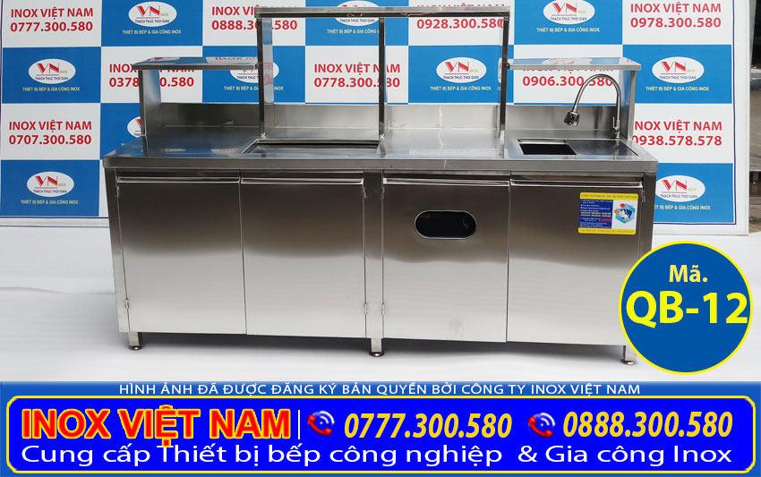 Báo giá quầy pha chế trà sữa inox, quầy bar inox QB-12 (Ảnh thật tế).