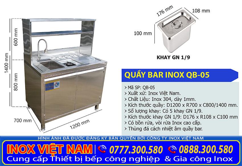 Kích thước quầy bar inox mini, quầy pha chế inox 1m2 QB-05 (Ảnh thật tế).