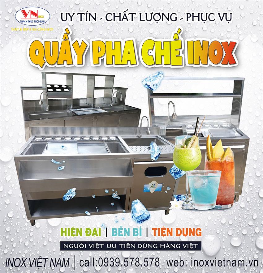 Địa chỉ mua quầy bar inox, quầy bar pha chế trà sữa inox, quầy pha chế inox tại tphcm.