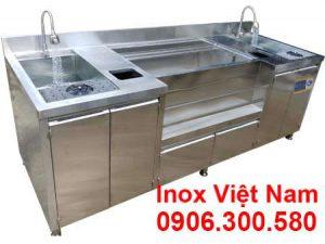 Mẫu Quầy Pha Chế Trà Sữa Inox 2m6 QB-06