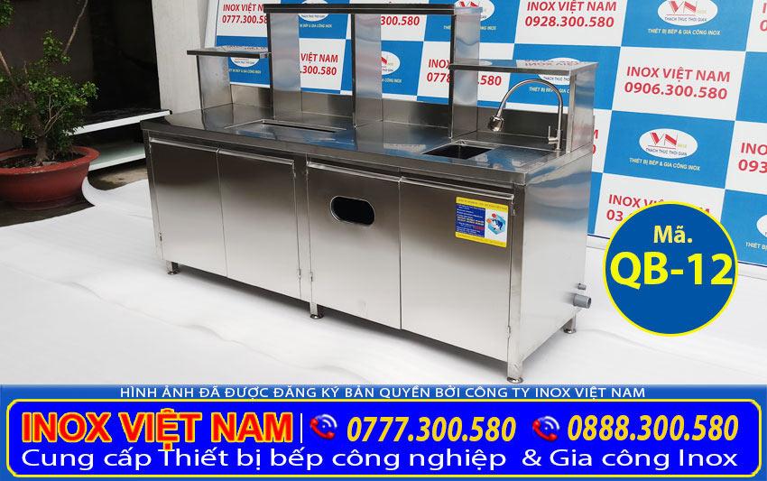 Quầy pha chế inox giá bao nhiêu? Báo giá quầy pha chế inox, quầy bar inox QB-12 (Ảnh thật tế).