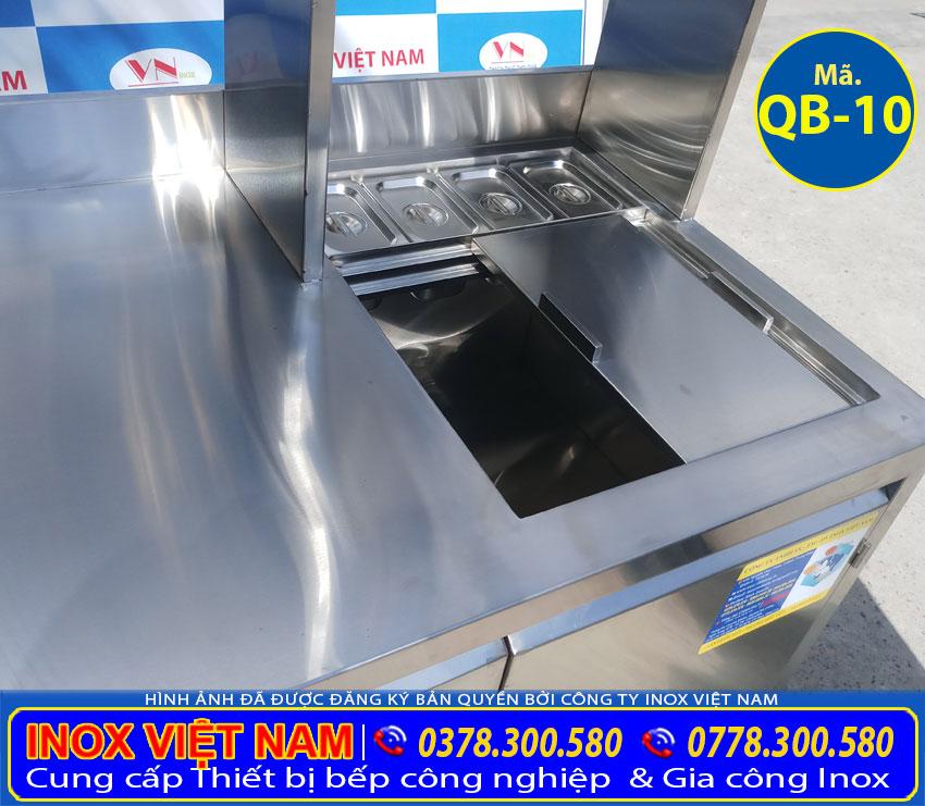 Bao giá quầy bar pha chế trà sữa inox, quầy bar cafe inox QB-10, thiết bị quầy bar chuyên nghiệp (Ảnh thật tế).