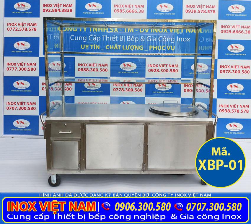 Xe đẩy bán hủ tiếu – phở inox tích hợp nồi nấu nước lèo bằng điện 100L của Inox Việt Nam ( ẢNh thật tế).