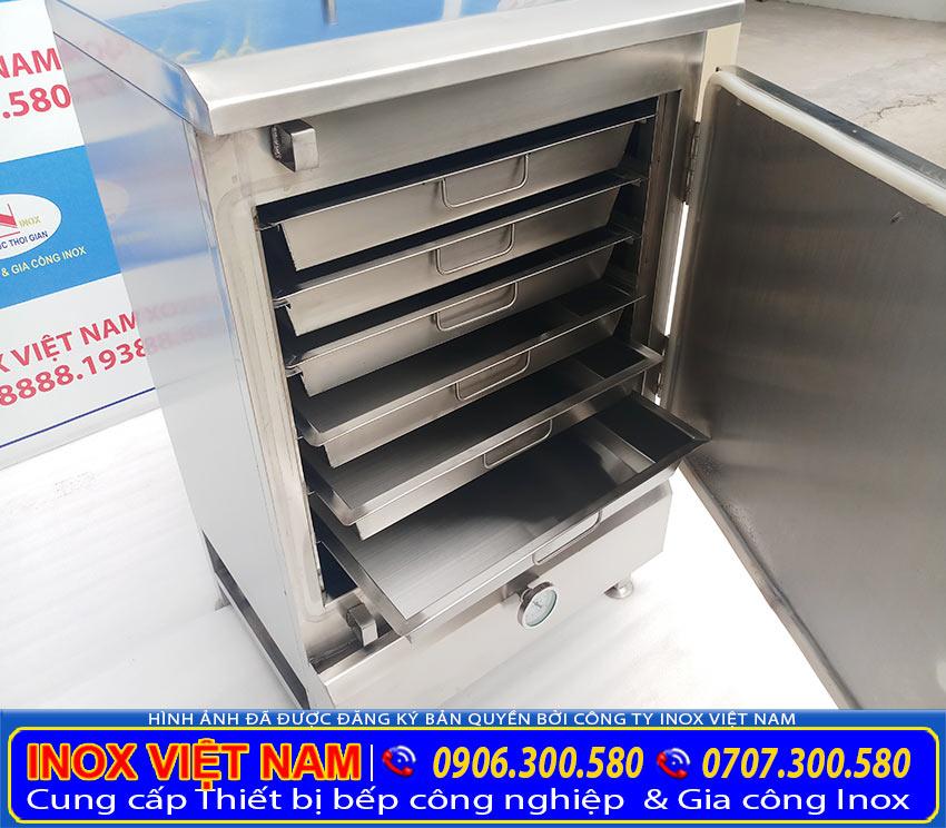 Tủ hấp cơm công nghiệp, tủ nấu cơm công nghiệp bằng điện và gas, được làm từ inox 304 chất lượng tốt, bền, đẹp (ảnh thật tế).
