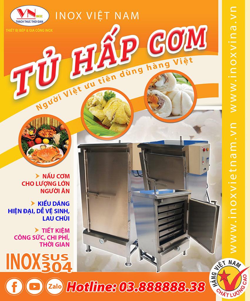 Tủ hấp cơm công nghiệp, tủ hấp thực phẩm công nghiệp đa năng của Inox Việt Nam.
